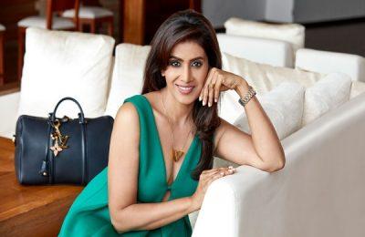 Actress Sonali Kulkarni Looks Stunning In An All-Red Saree