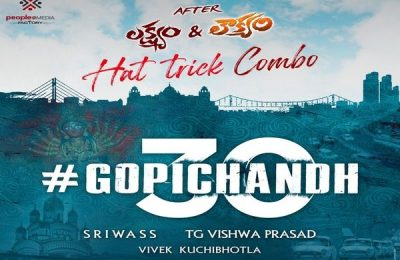 """Gopichand And Sriwass Team Up For A New Film """"Gopichand 30"""""""