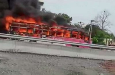 Telangana govt bus catches fire in Jangaon, no injuries reported